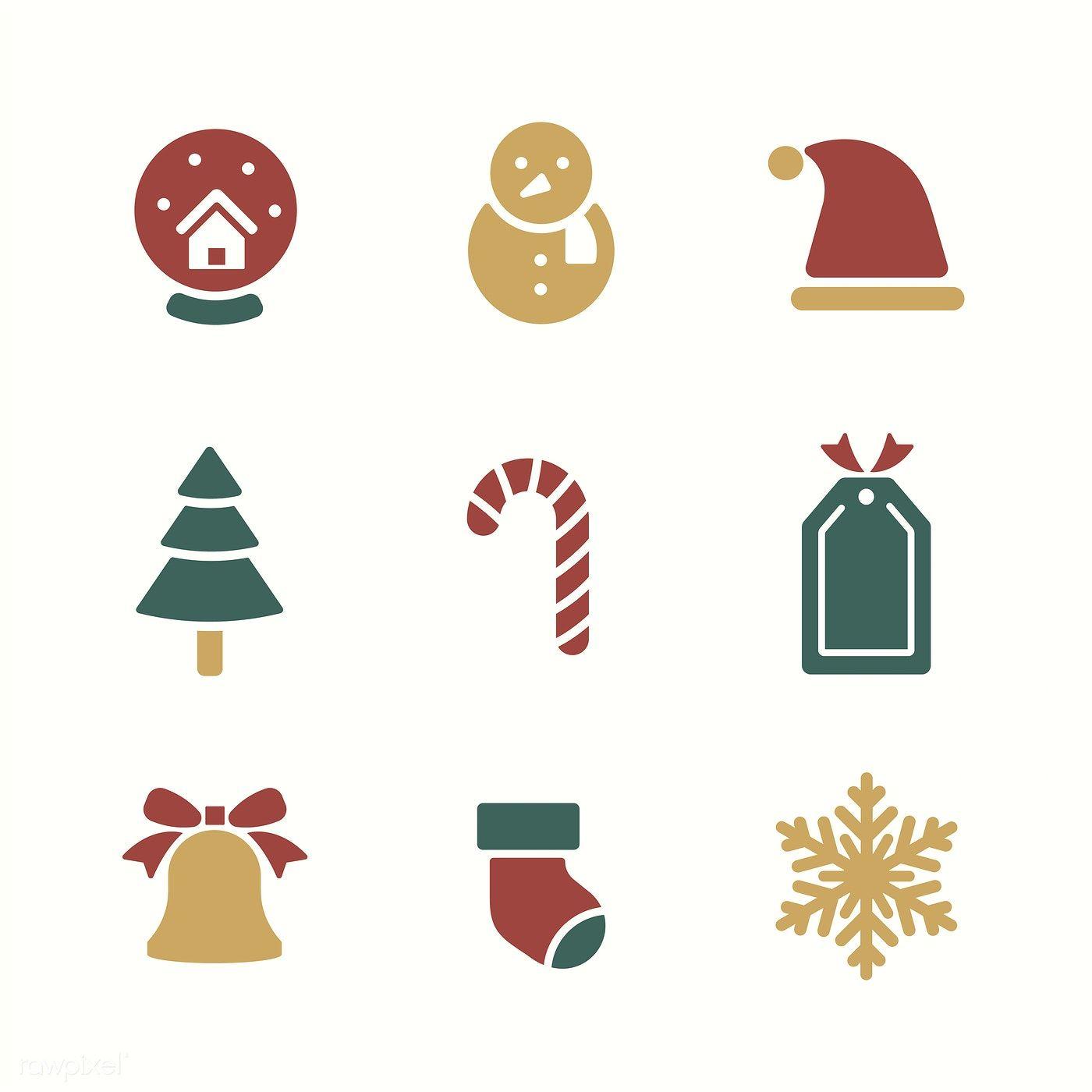 Christmas Holiday Symbols Vector Set Free Image By Rawpixel Com Holiday Symbols Christmas Icons Christmas Drawing
