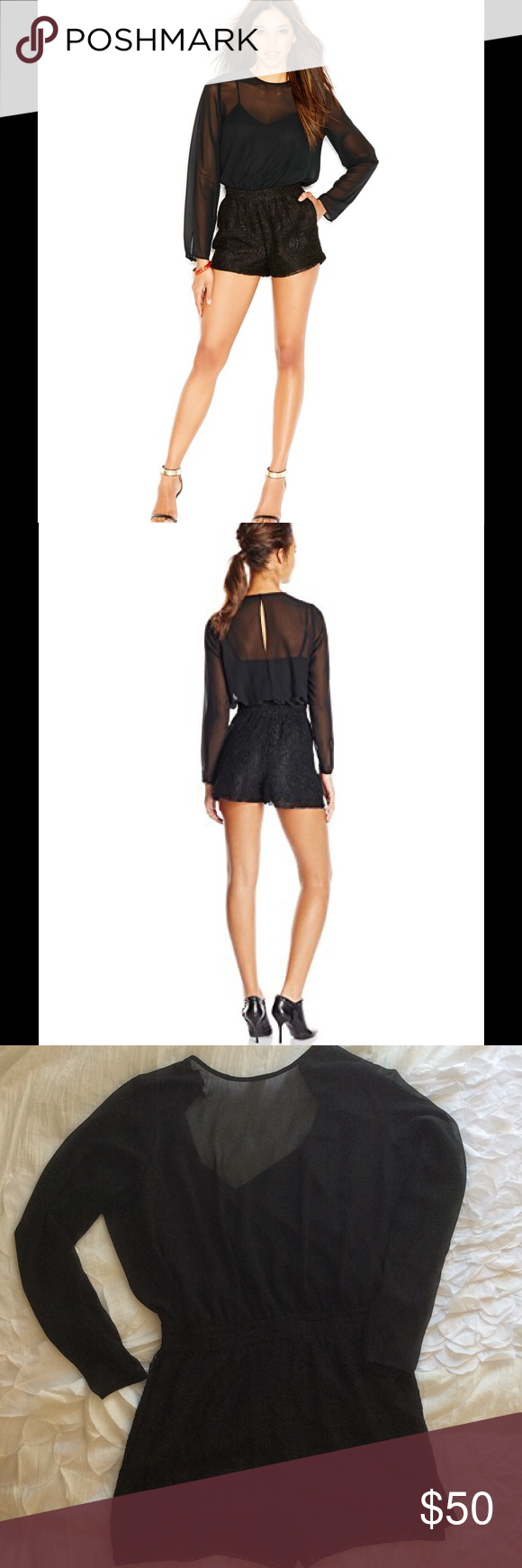 Black illusion-sleeve BCBGeneration romper Black romper from BCBGeneration. Top: black cami covered by see/through fabric with long sleeves. Back is slit, connected with hook and eye closure. Features a flattering gathered waist in the same lace material as bottom half. BCBGeneration Dresses Mini