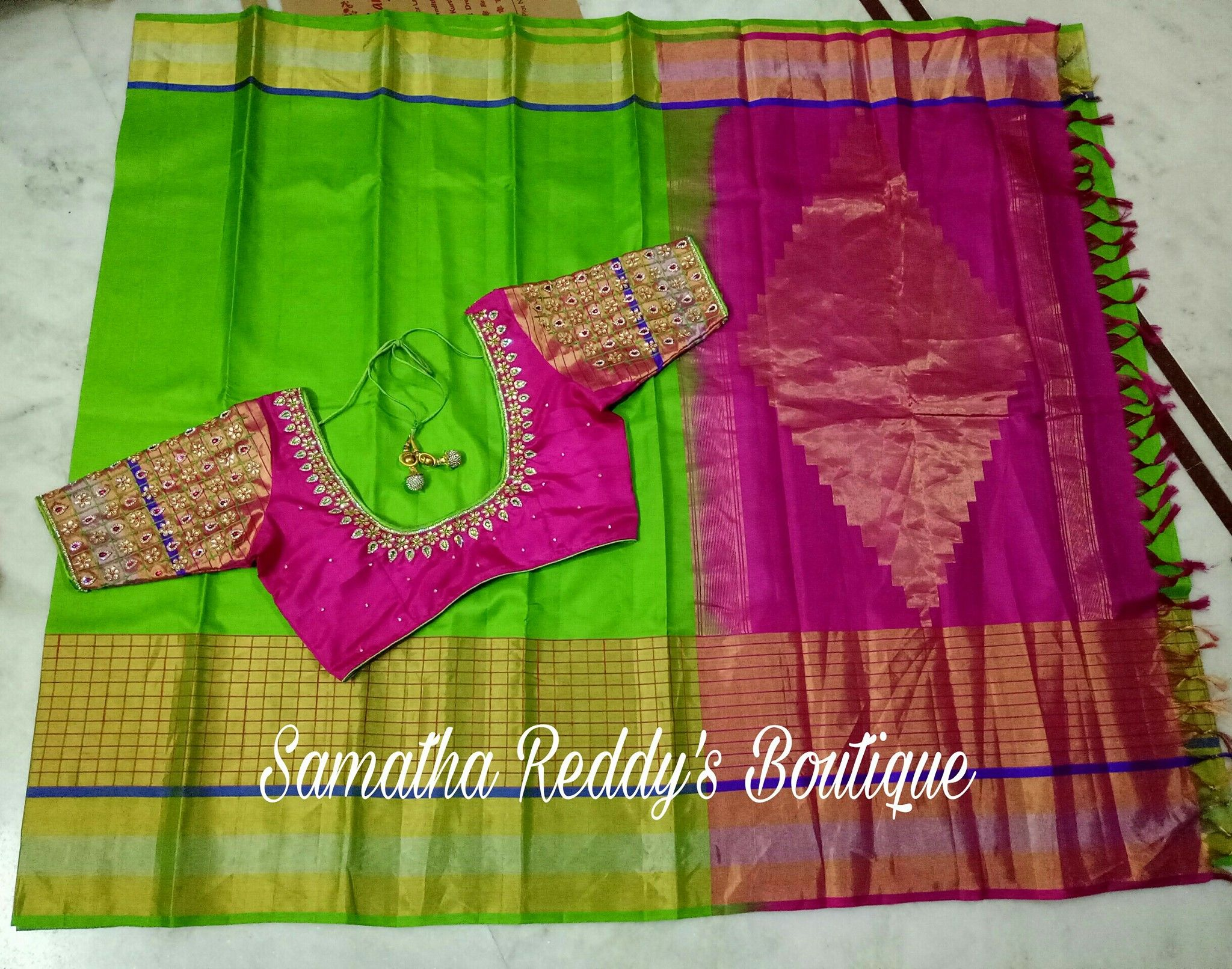 Beautiful Parrot Green And Pink Color Combination Saree Lovely Designer Blouse With Hand