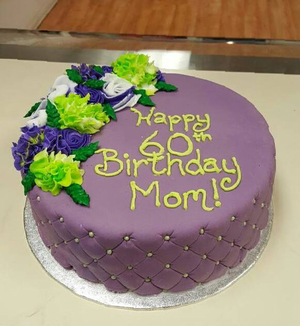 Purple Quilted Birthday Cake For Mom Beautiful Flower Accent Made