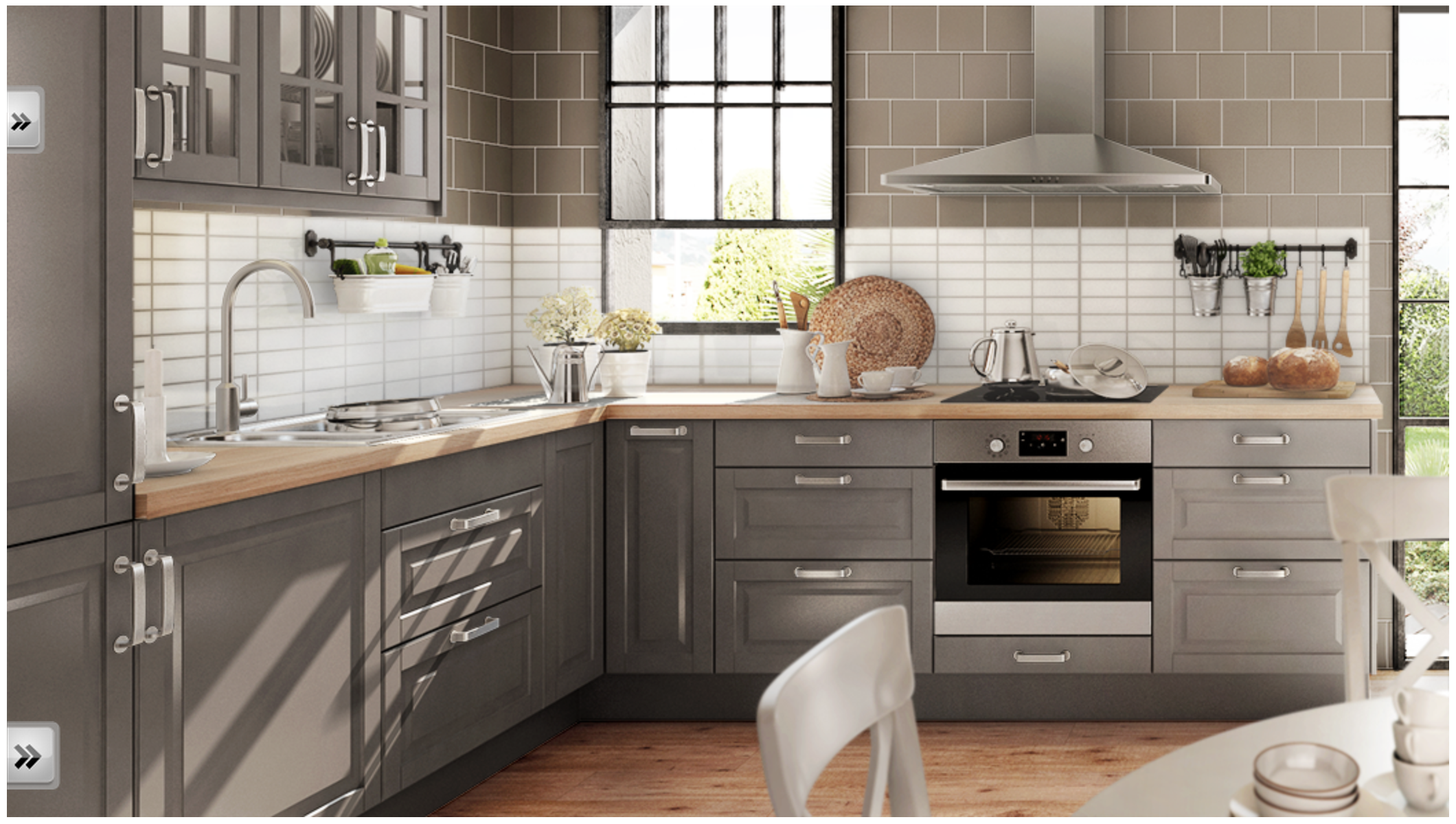 Decoration Exciting L Shaped Kitchen With Grey Cabinet Storage And White Backsplash Tile Also Grey Kitchen Designs Kitchen Cabinet Remodel Ikea Bodbyn Kitchen