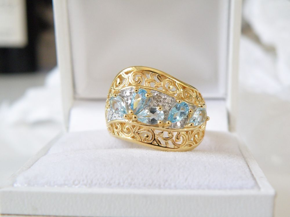 New 18kt Gold on Sterling Silver Genuine Blue Topaz Aquamarine Ring Size 7 #Designer #Cluster