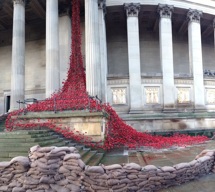 Weeping Window installation, surrounded by sandbags give a WWI feel.