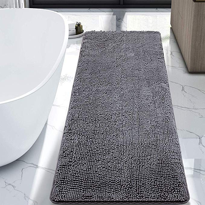 Amazon Com Lochas Luxury Bathroom Rug Grey Bath Mat Runner 24 X 60 Inch Shaggy Washable Non Slip Bath Rugs For Bat In 2020 Luxury Bathroom Rug Bath Mat Diy Bath Rugs