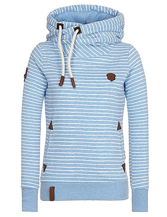 elfin damen gestreift langarmshirt hoodie mit zip pullover. Black Bedroom Furniture Sets. Home Design Ideas