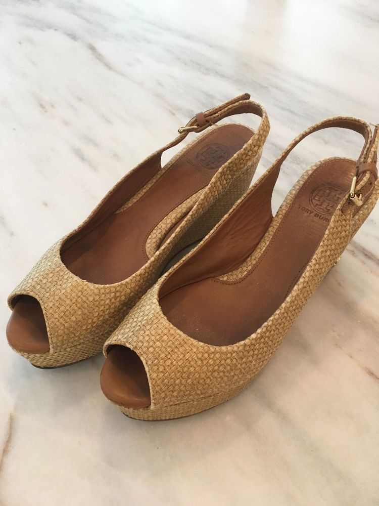 7f16f1aac Tory Burch Rosalind tan natural Raffia Peep Toe slingback Wedge sandal size  6