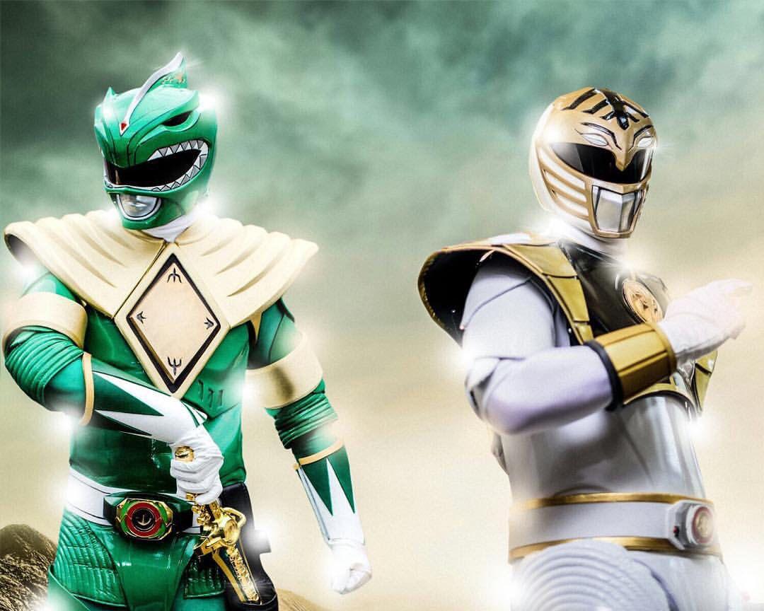 Mighty Morphin' Green & White Rangers   Power Rangers ...