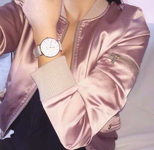 2448bb34278 Satin pink bomber jacket and rose gold watch