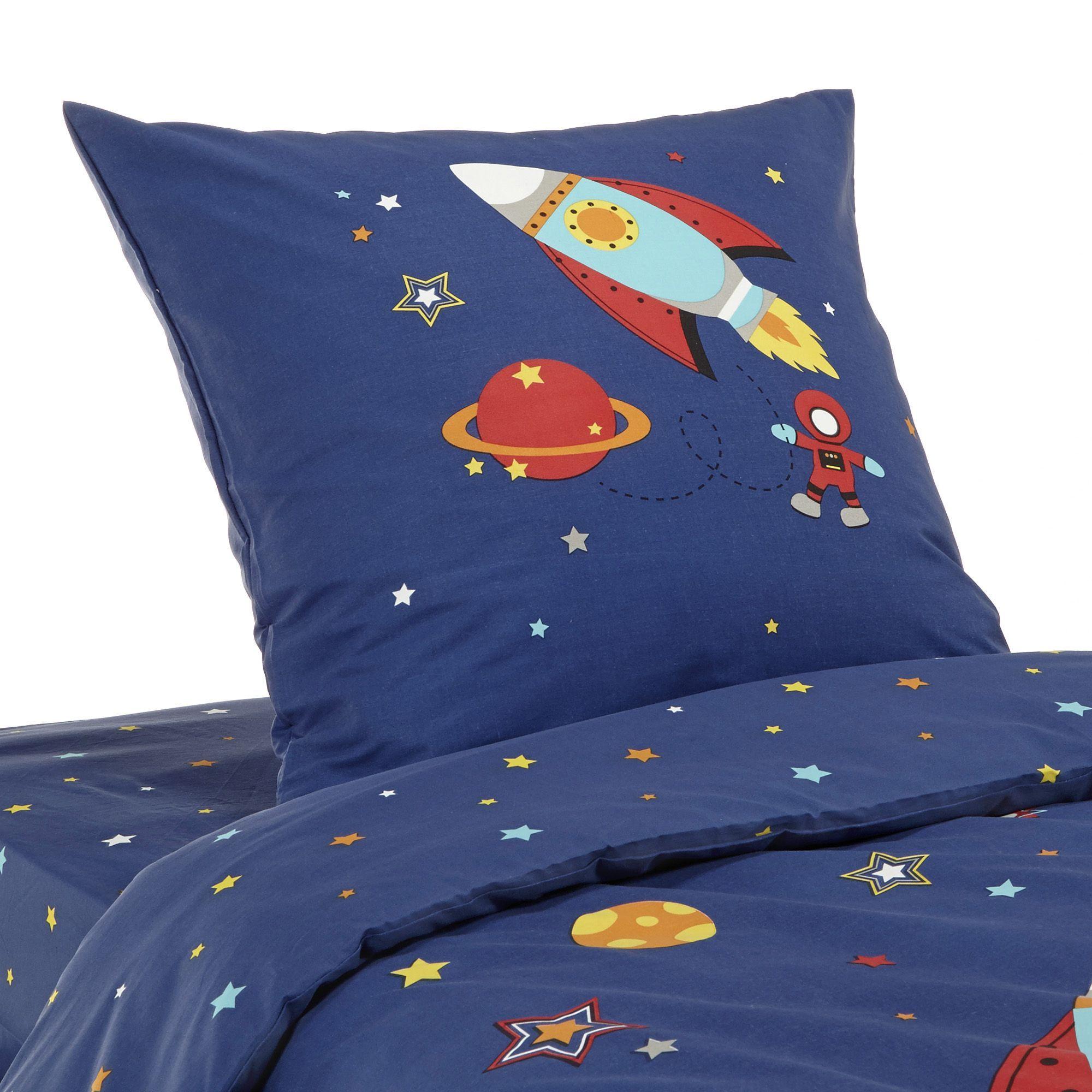 Parure De Couette Pour Lit Enfant Phosphorescente Bleu Galaxi