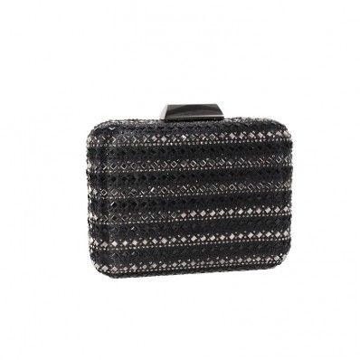 4bfa935f5d Arya Italian Jewels - Wedding Black Clutch Bag with Swarovski Crystal -  Annabella Pochette Donna da