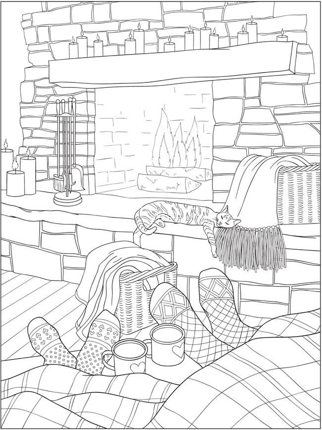 Free printable coloring page from Dover Publications cat