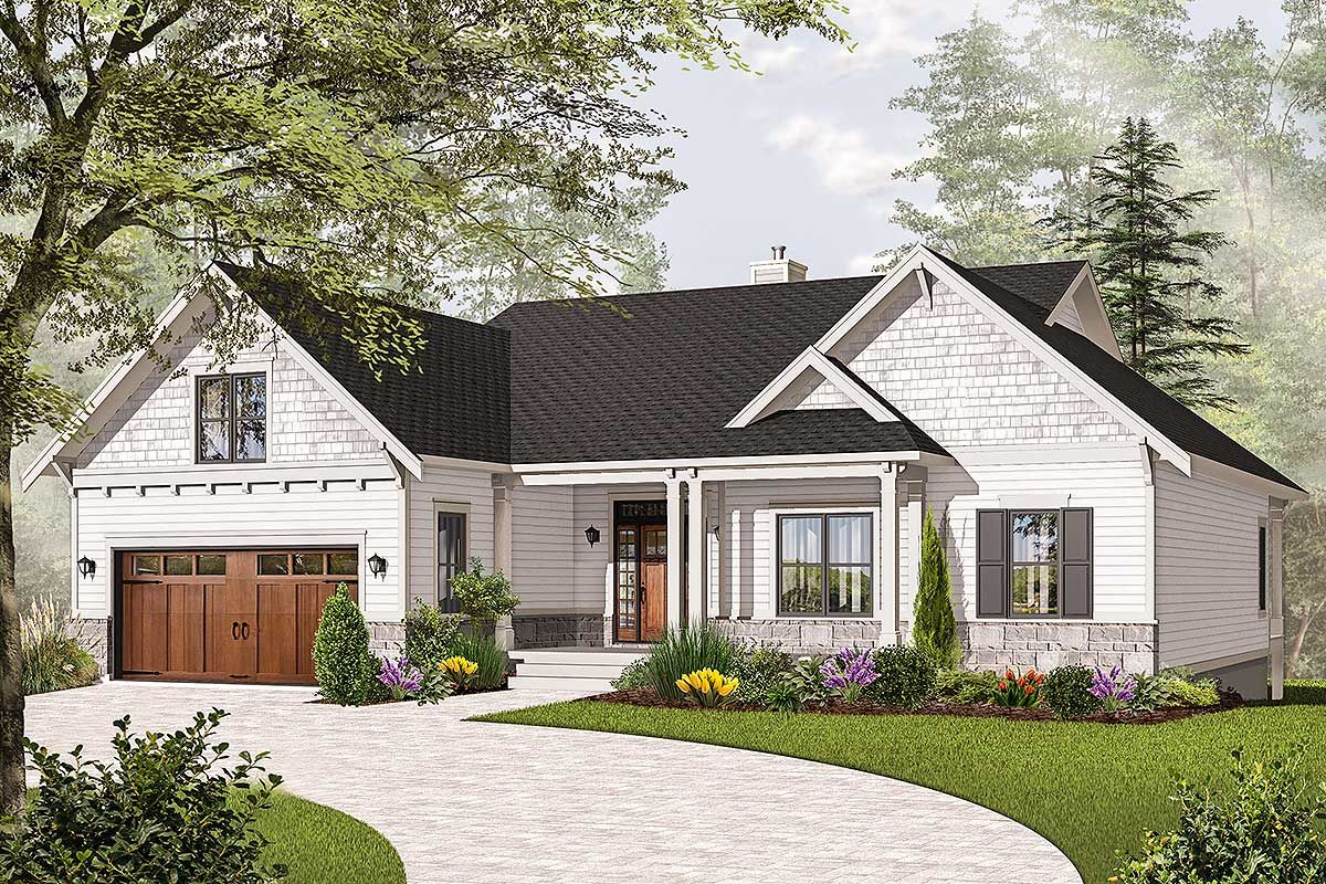 Plan 21940dr Airy Craftsman Style Ranch Craftsman House Plans Lake House Plans Ranch House Plans