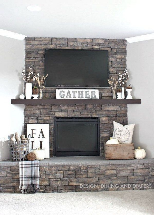 Interior design with rustic style fall mantel