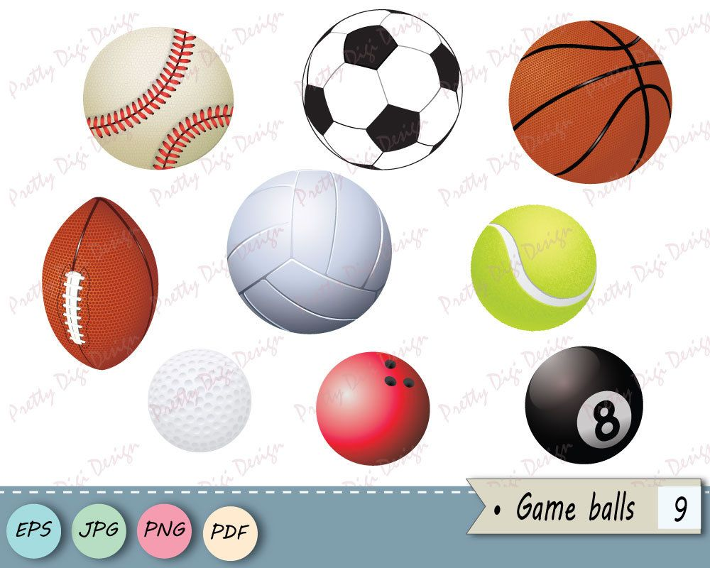 Game Balls Clip Art Baseball Soccer Basketball Football Volleyball Tennis Golf Bowling Billiard Overlay Nursery Vector Png Soccer Clip Art Ball