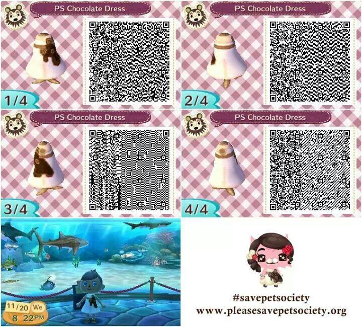 animal crossing acnl qr code pet society chocolate dress