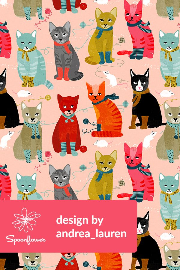 Kittens in mittens by andrea lauren adorable hand illustrated kittens in mittens by andrea lauren adorable hand illustrated cats in socks on fabric wallpaper and gift wrap cats in orange black gray an voltagebd Choice Image