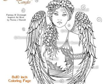 angel fairy tangles adult printable coloring pages by norma burnell coloring book sheet angels to color colouring for adults