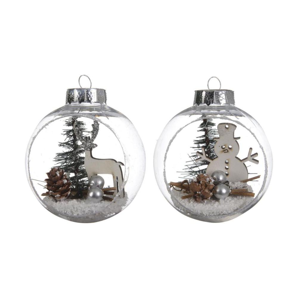 Bombka Szklana 8 Cm 2 Szt Transparentna Z Dekoracja Mix Bombki I Ozdoby Choinkowe W Atrakcyjnej Cenie W Sklepach Christmas Bulbs Bulb Christmas Ornaments