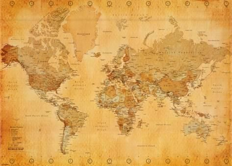 Vintage World Map Interiors And Room - Retro world map poster