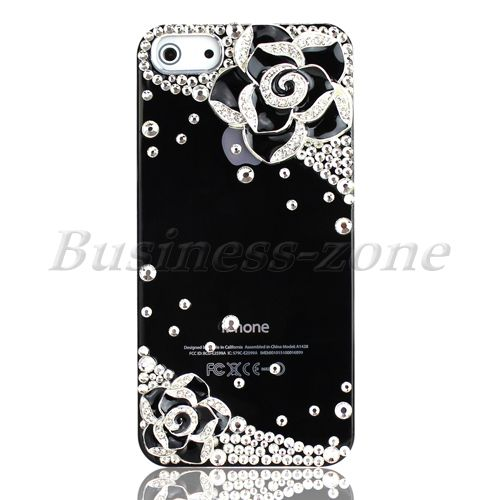 Black New Bling Flower Diamond for iPhone 5 5g Hard Smooth Back Cover Case Skin