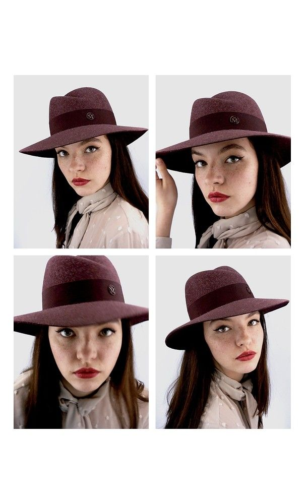 5f6e4e38bd3b94 Maison Michel Virginie Fedora Hat Vintage Burgundy #NYC #Retro ...