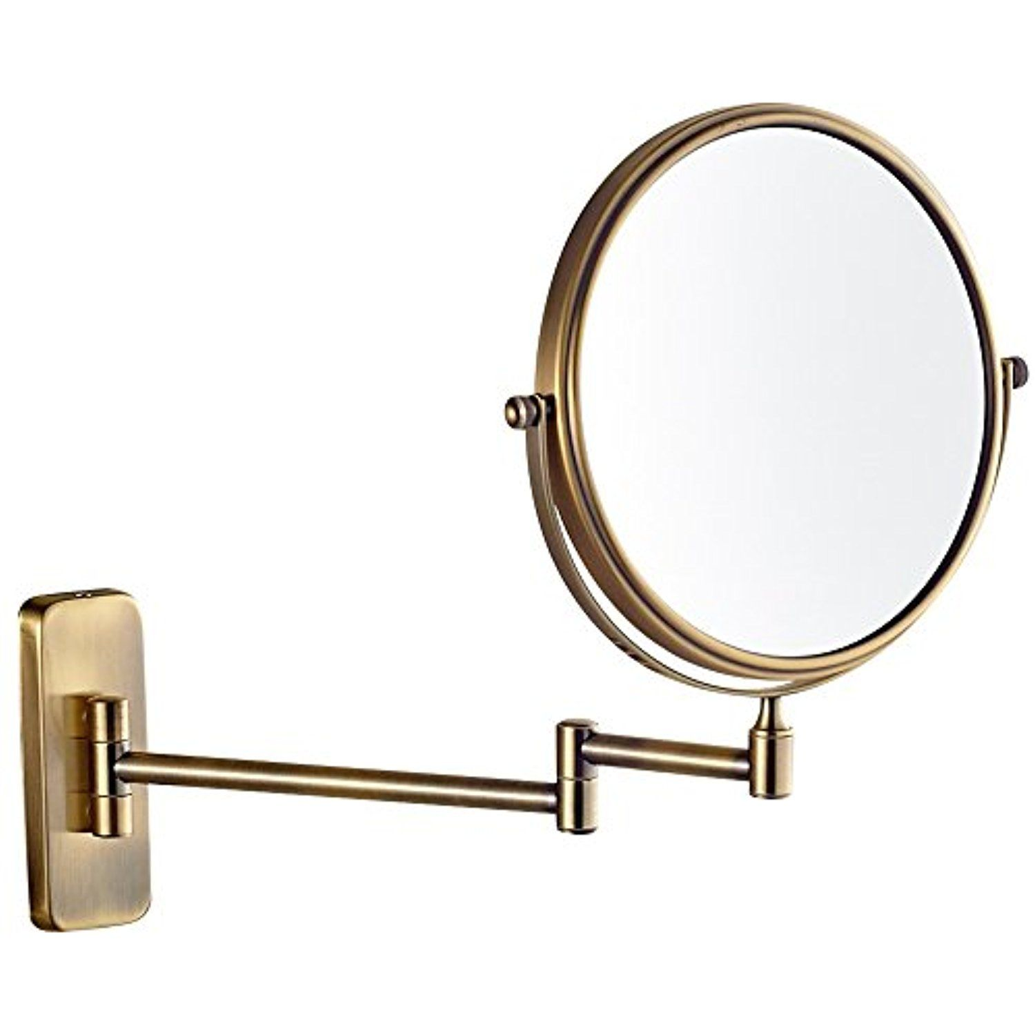 Gurun 8 Inch 2 Face Wall Mount Makeup Mirrors With 5x Magnification Antique Brass Finished M140 Wall Mounted Makeup Mirror Makeup Mirrors Chrome Makeup Mirror Wall mounted make up mirrors