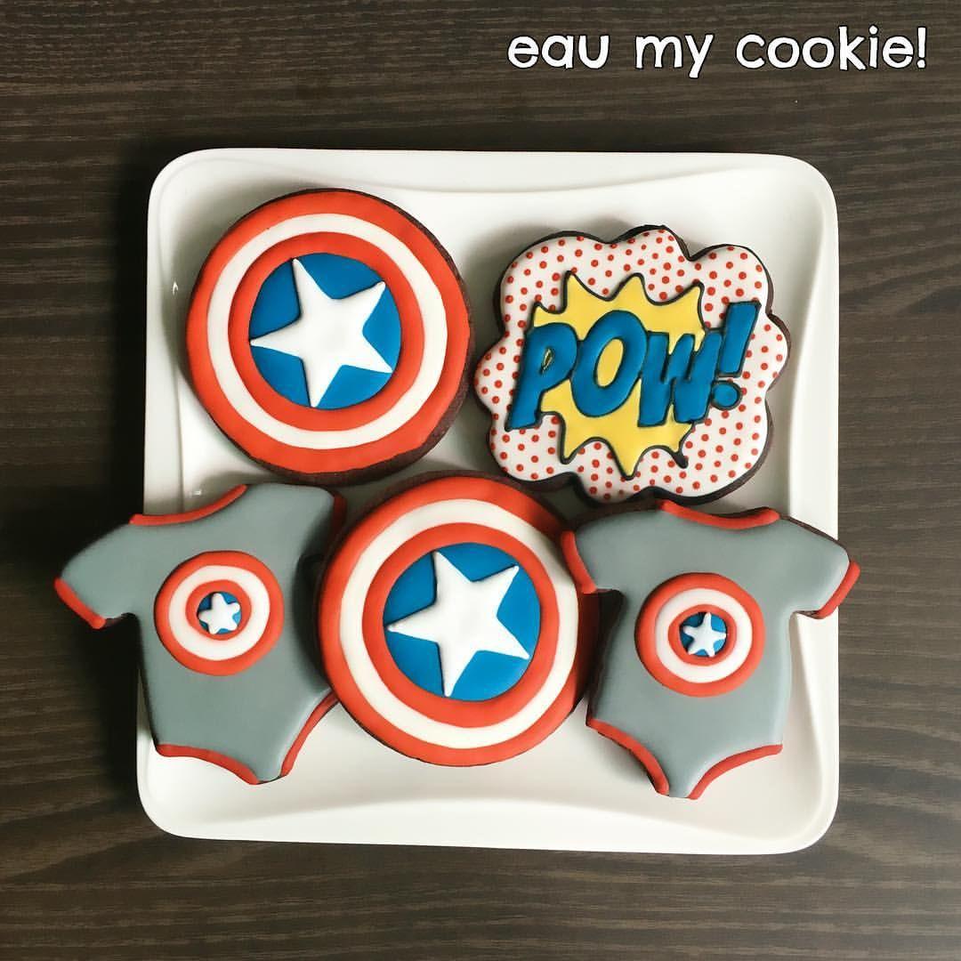 Captain america baby shower cookies