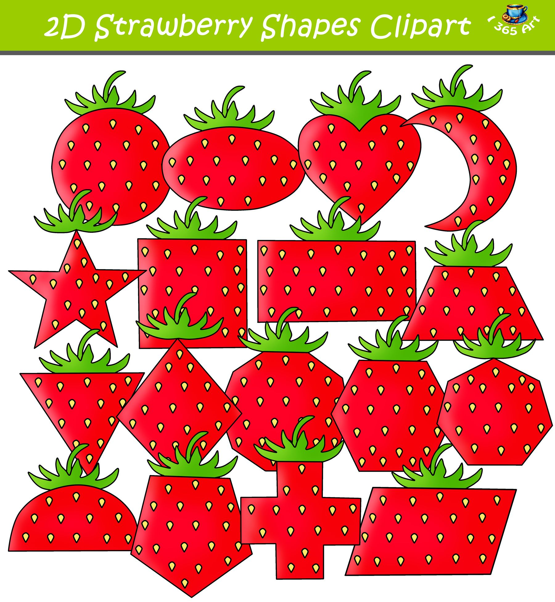 2d Strawberry Shapes Clipart Download With Images
