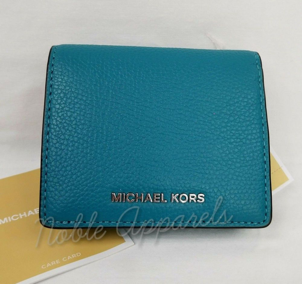f8094cb9d5d0df Michael Kors Mercer RFID Wallet Card Case Bifold Peacock Pebbled Leather  190864501475 | eBay