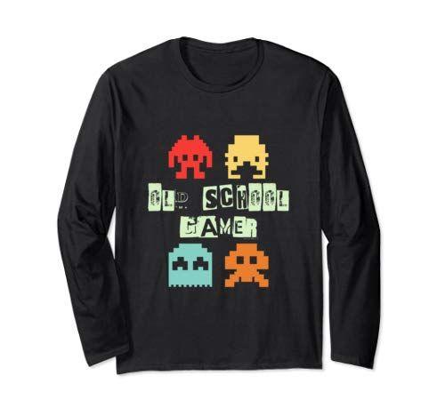 Old Vintage School Gamer – Retro Space Alien Invaders Long Sleeve T-Shirt