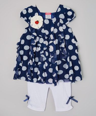 Love this Navy Polka Dot Tunic & Leggings - Infant, Toddler & Girls by Tuff Cookies on #zulily! #zulilyfinds