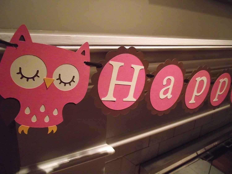 Owl Happy Birthday Banner girl birthday 1st birthday owl