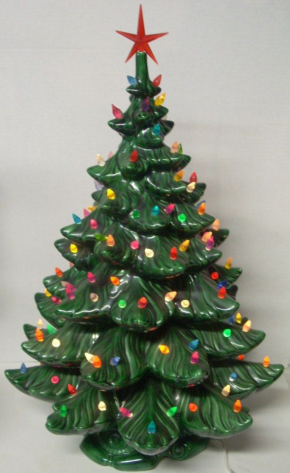 Vintage Christmas Tree with Lights. I have one of these. My Grandma gave it  to me. Great Memories! <3 - Vintage Ceramic Lighted Christmas Tree 24 Inch Holidays
