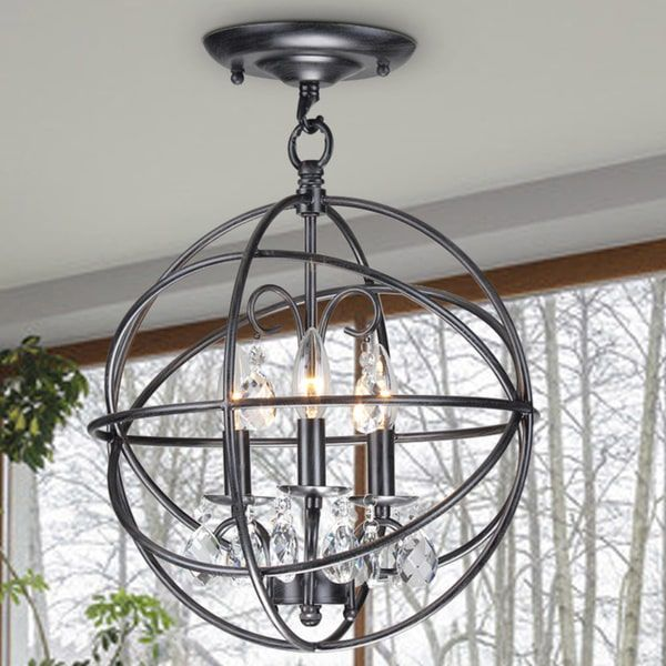 Benita 3 Light Antique Black Metal Globe Crystal Flush Mount Chandelier