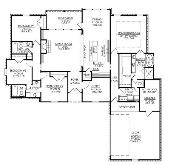 Courtyard entry 2000 2500 sq ft house plan home design for 2500 sq ft apartment plans