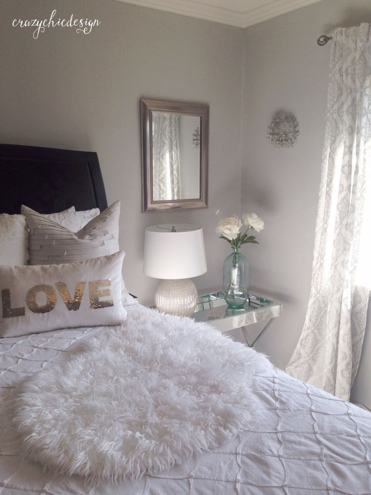 Lightweight White Curtains With A Delicate Silver Pattern Add To The Soft Feel In This Bedroom