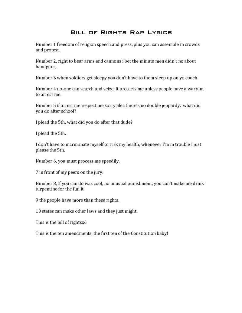 Worksheets Bill Of Rights Worksheets page 1 american civics unit lesson 2 bill of rights rap lyrics pdf