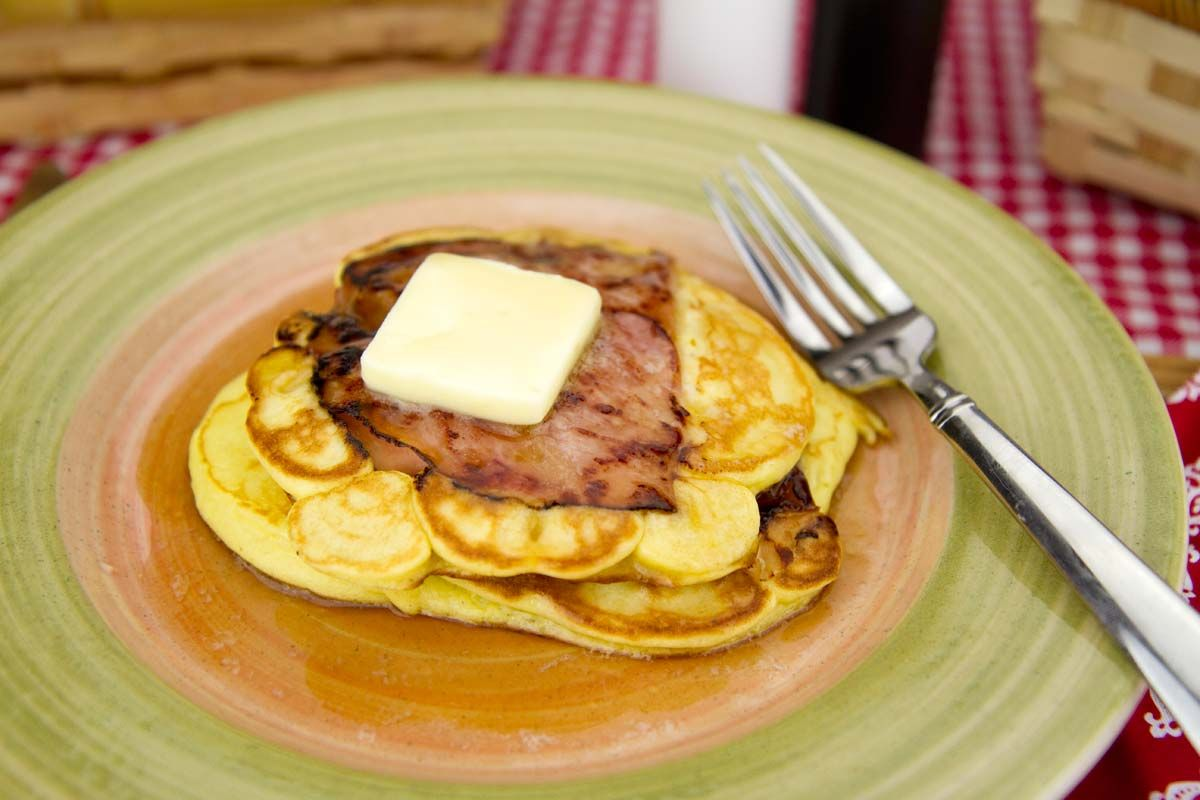 Ham Steak Pancakes / @DJ Foodie / DJFoodie.com