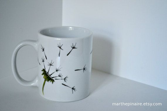 Dandelion Mug Etsy12 00 Hand Painted By On Marthepinaire O80nwPXk