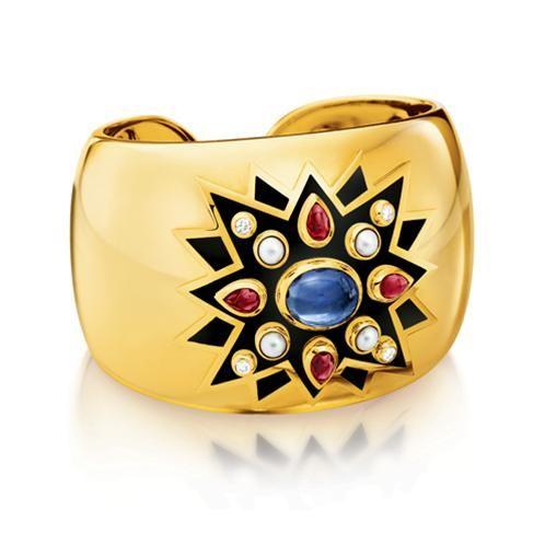 Verdura Sunburst Cuff (Blue Sapphire, ruby, pearl, diamond, enamel & 18k gold)