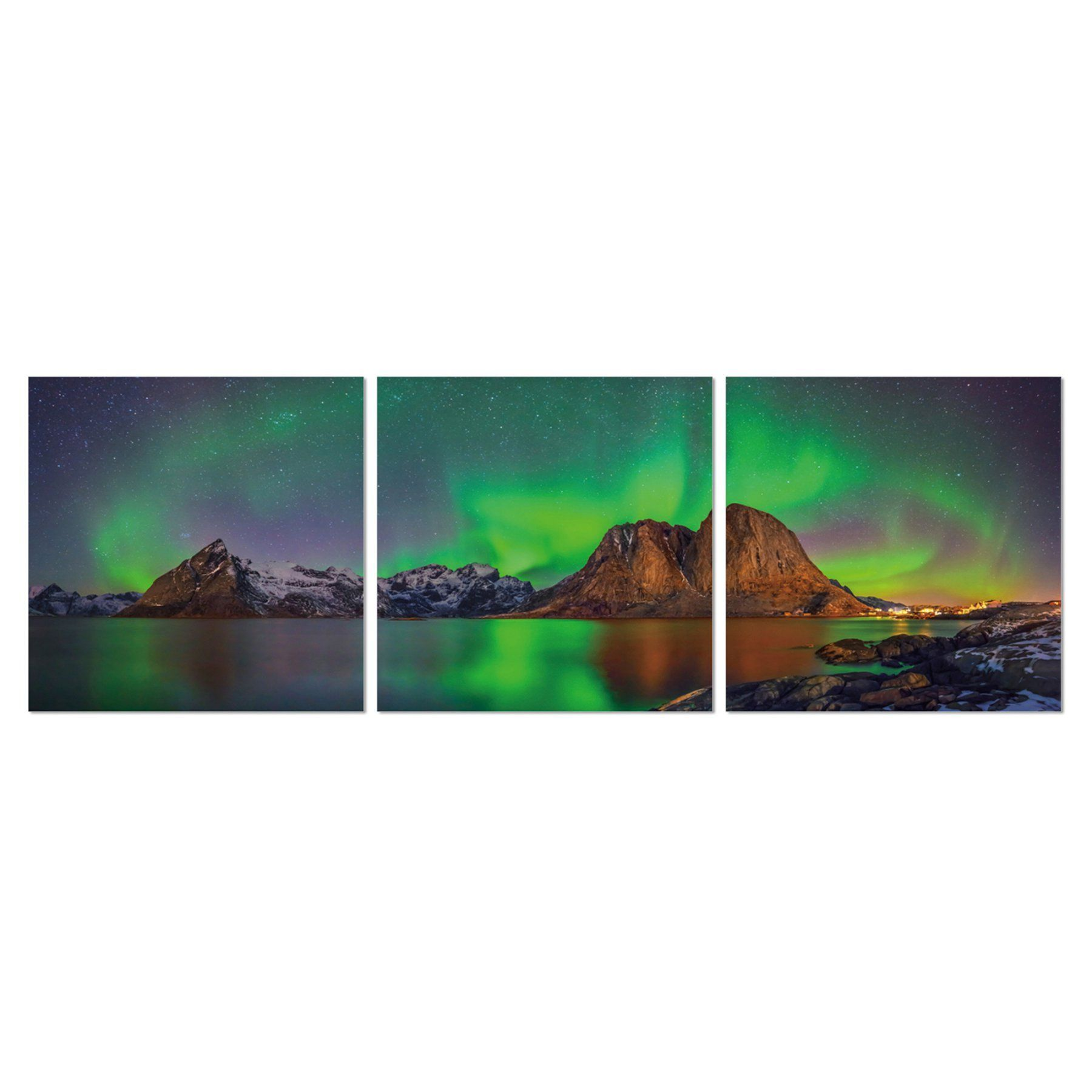 Furinno Senia Aurora In Iceland 3 Panel Triptych Print Framed