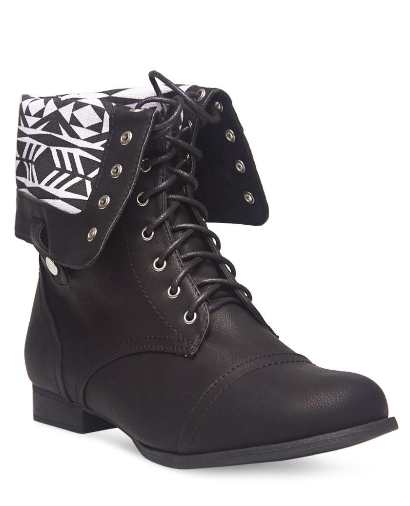 Aztec Print Foldover Combat Boots - Wide Width | Wet Seal+ ...