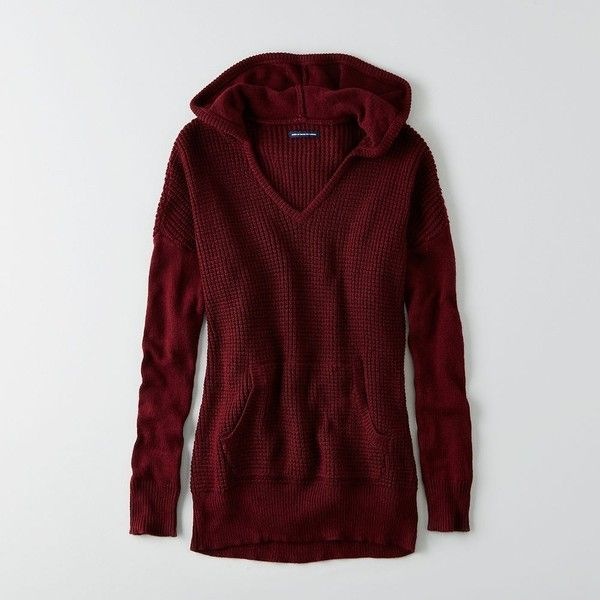 American Eagle Hooded Tunic Sweater ( 60) ❤ liked on Polyvore featuring tops,  sweaters, maroon, red v neck top, hooded sweater, red top, v-neck tops and  ... 62ada732b74f