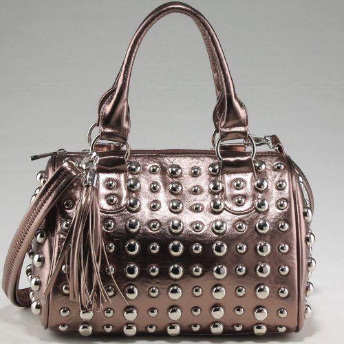 Designer Inspired Bubbly Ball Studded Satchel w/ Tassel Accent & Bonus Strap Bronze