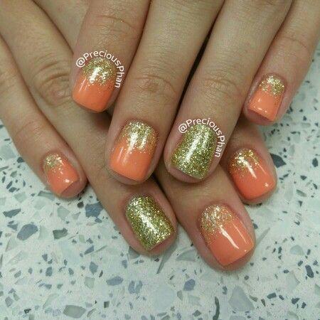 ombre nails gold an orange nails  ombre nails elegant