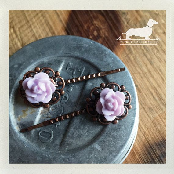 Were clearing out our closet to make room for new inventory... this means great deals for you!  CLEARANCE! Lavender Rosebud. Flower Hairpins (Set