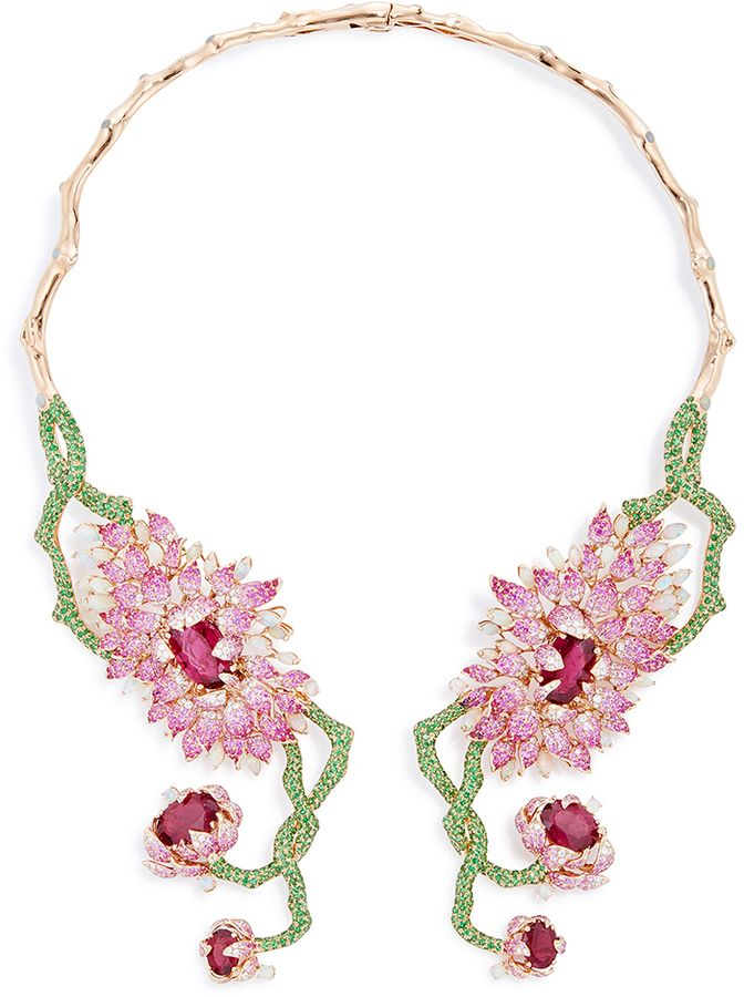 Wendy Yue Symmetrical Floral Collar Necklace