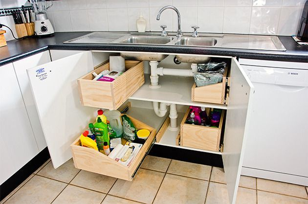 Make the space under your sink useful, rather than an ugly dumping
