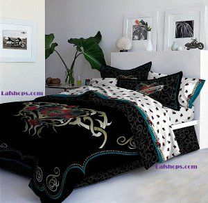 Harley Davidson Full Comforter, Bed Skirt, Pillow Shams Heart Tattoo Biker Motorcycle Bedding Bag