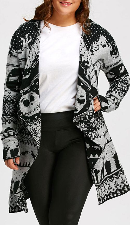 Plus Size Halloween Skull Knitted Tunic Cardigan Disney Styles